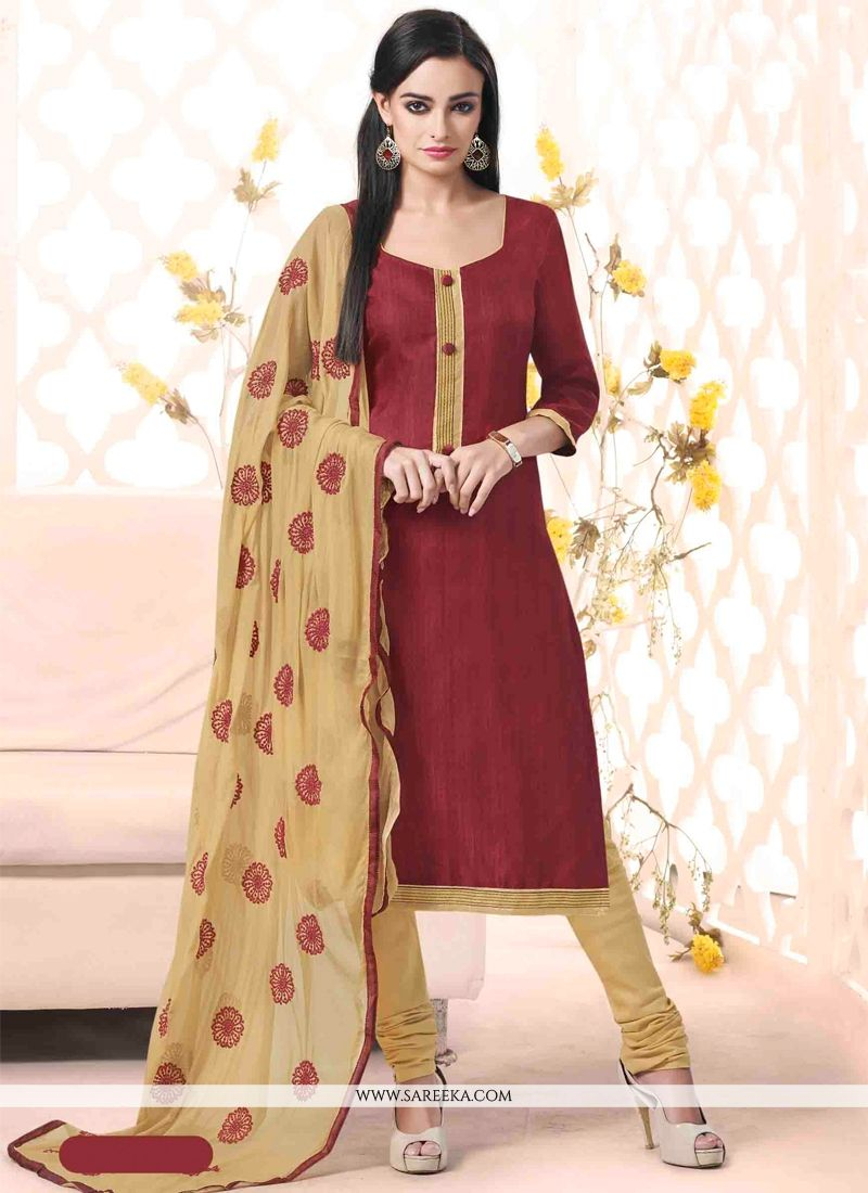 Lace Work Bhagalpuri Silk Maroon Churidar Designer Suit