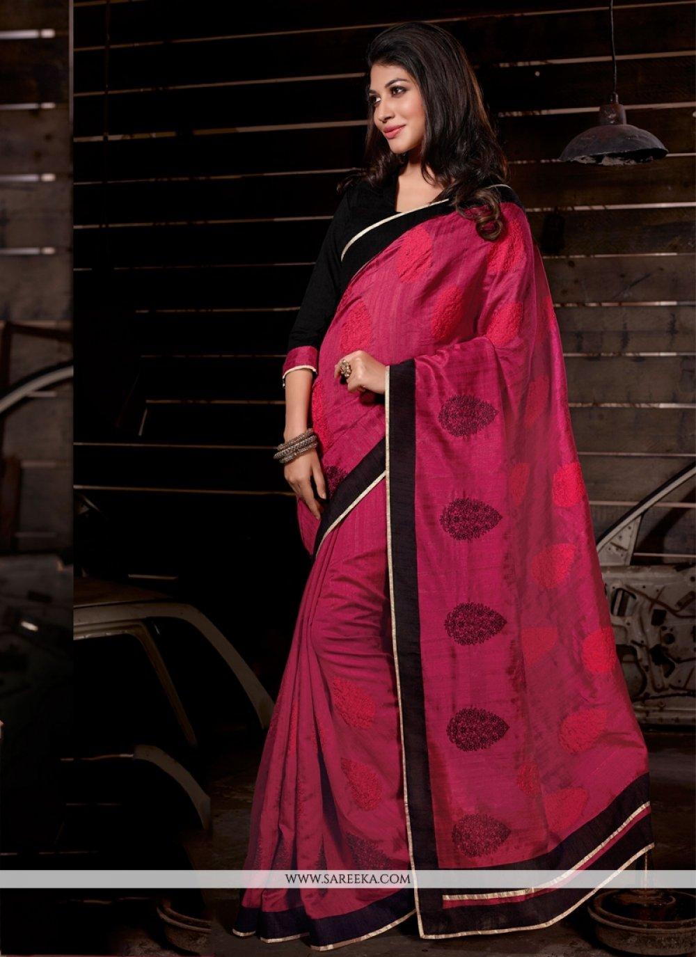Magenta Lace Work Bhagalpuri Silk Casual Saree