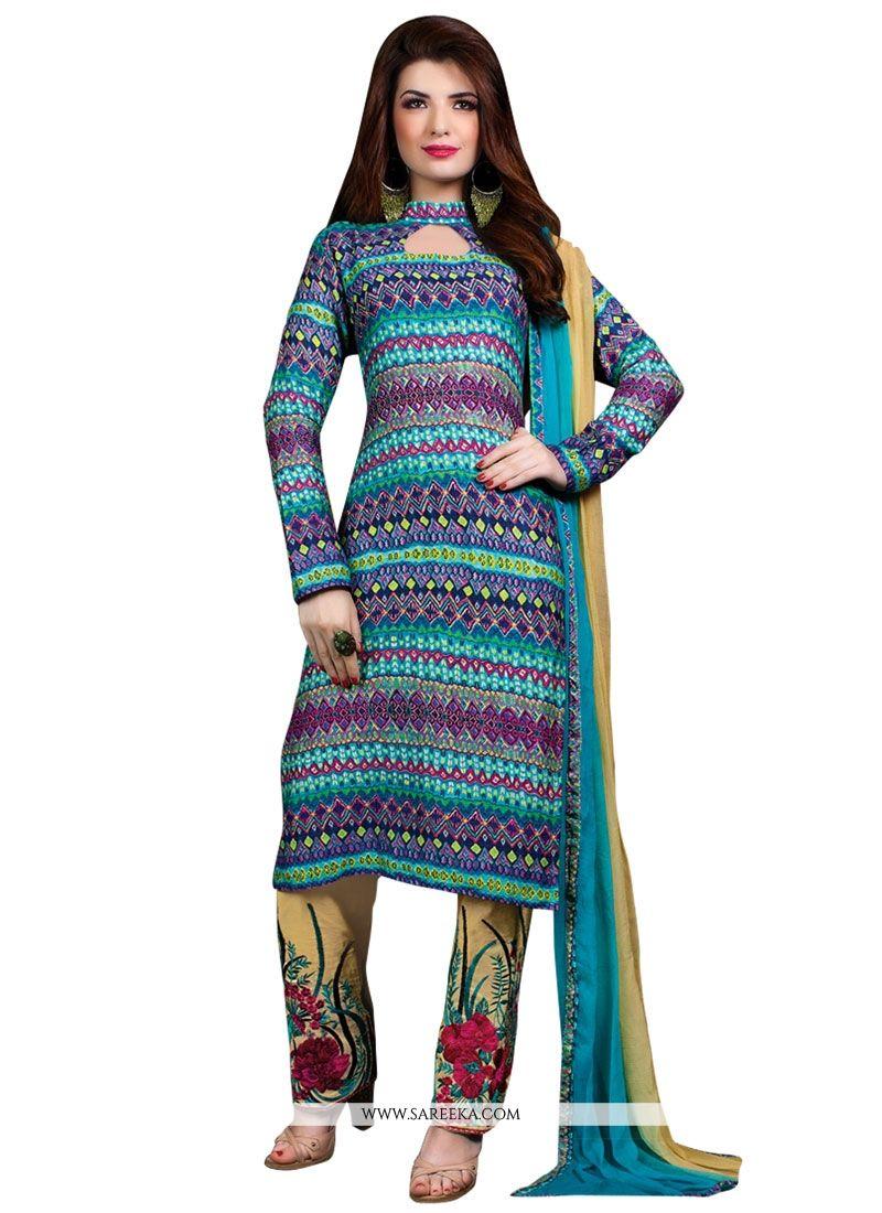 Multi Colour Print Work Designer Suit