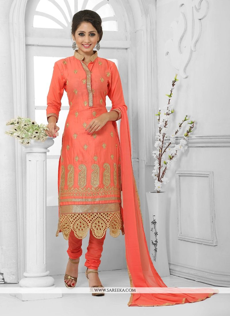 Cotton   Orange Zari Work Churidar Designer Suit