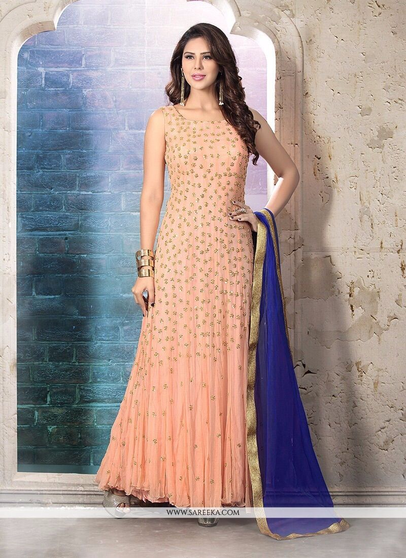 Embroidered Work Net Anarkali Suit