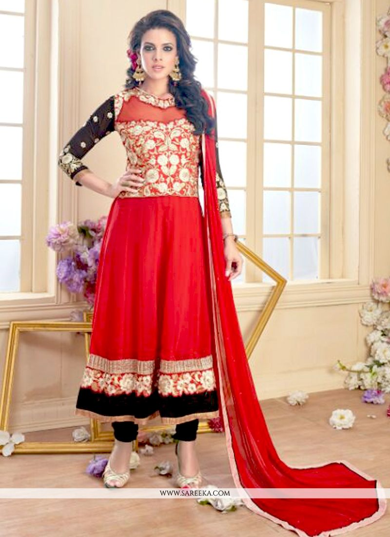 Georgette Red Anarkali Suit
