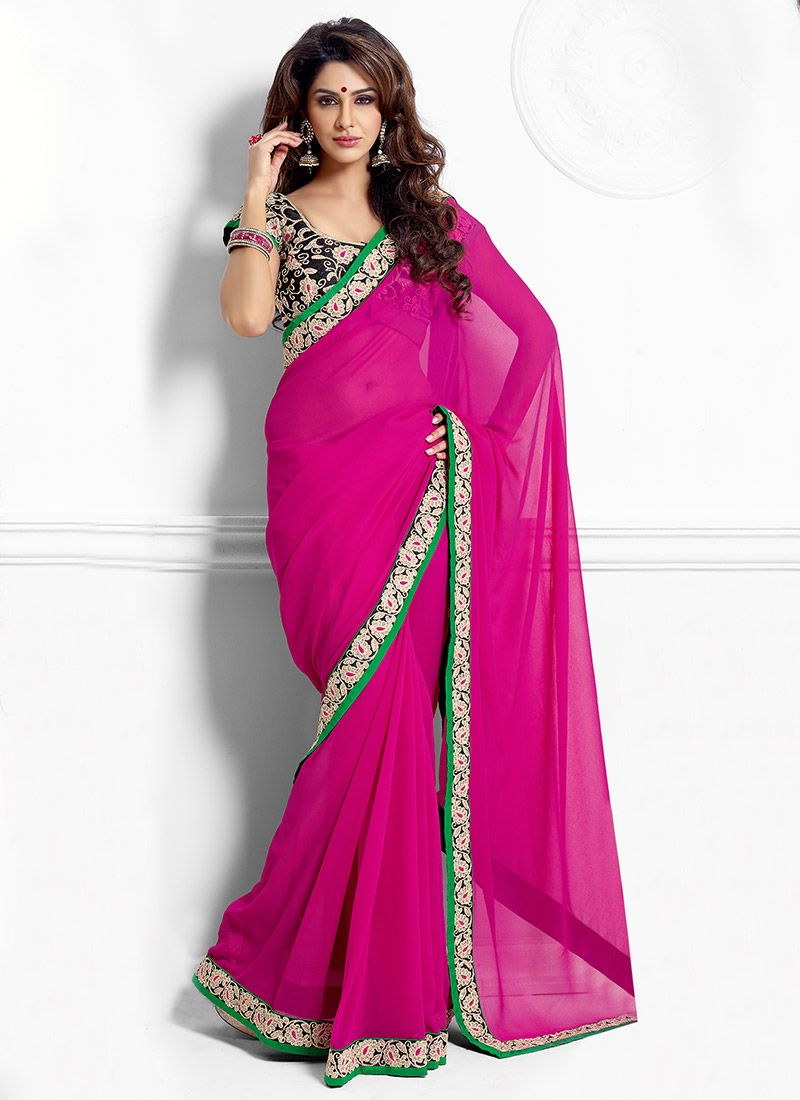 Pink Georgette Casual Saree
