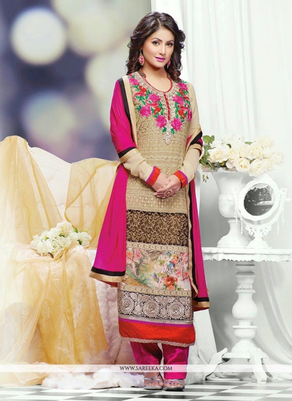 Heena Khan Beige Georgette Salwar Suit