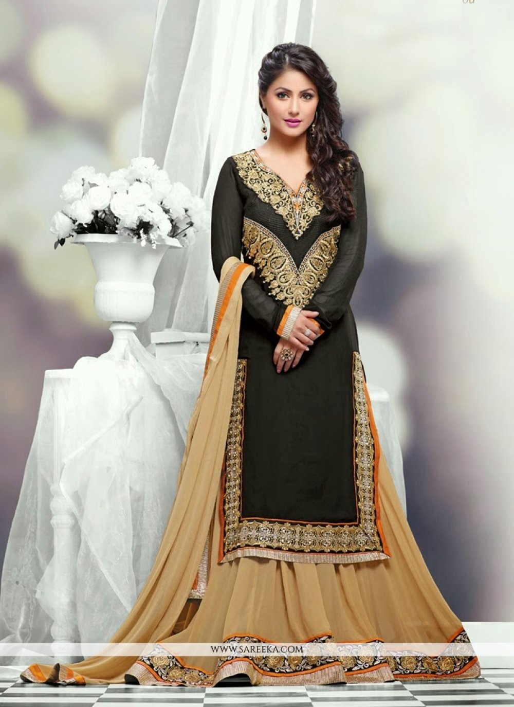 Heena Khan Black And Cream Georgette Lehenga Choli