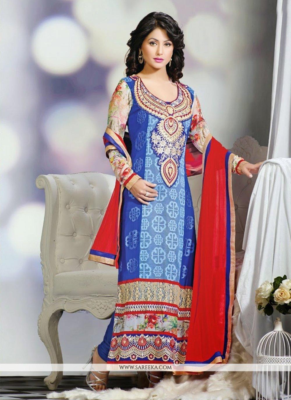 Heena Khan Blue Embroidery Work Churidar Suit