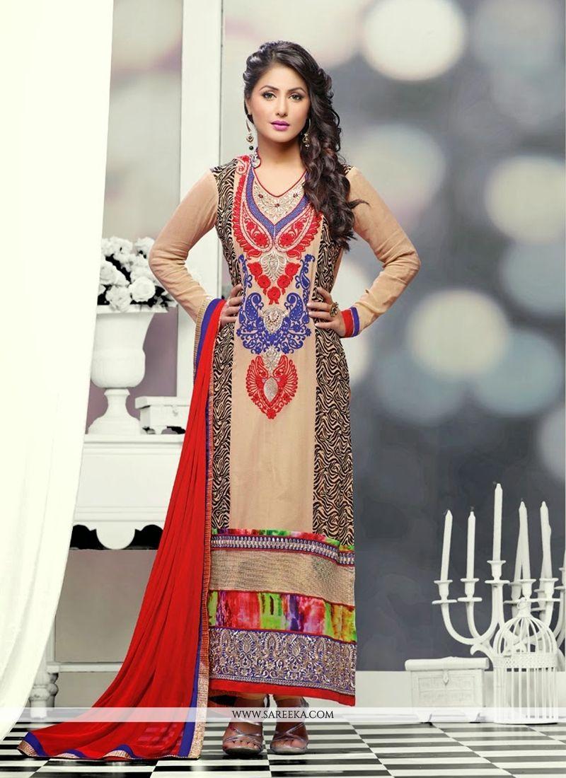 Heena Khan Cream Resham Work Churidar Suit