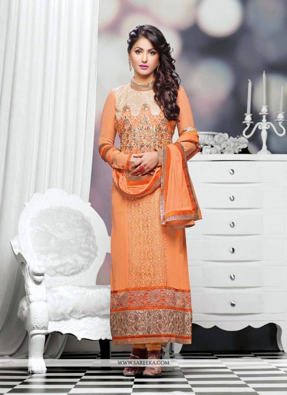 Heena Khan Peach Georgette Churidar Suit