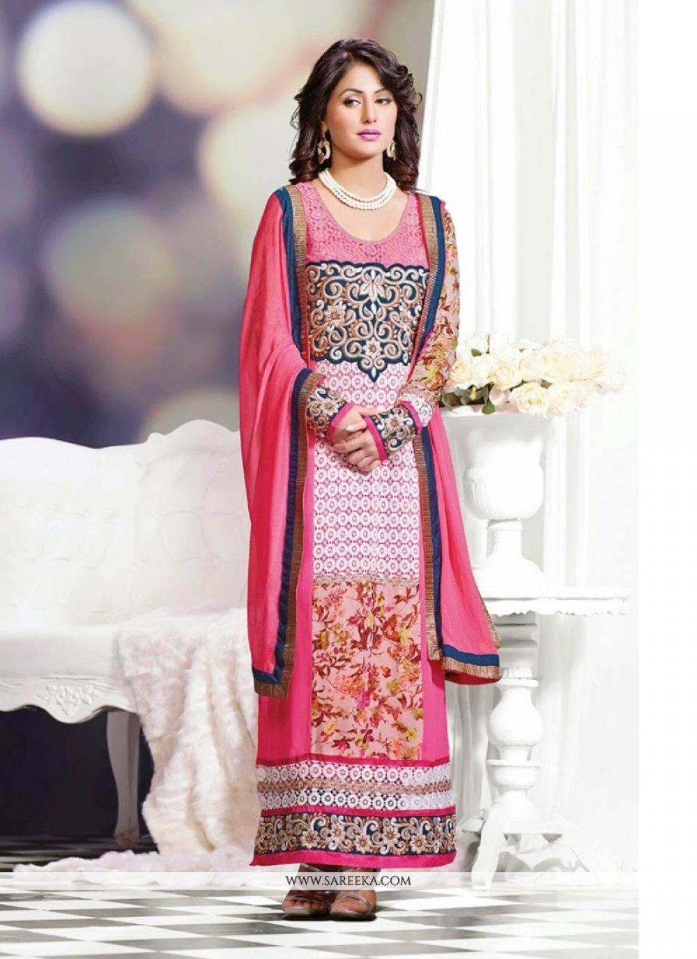 Heena Khan Pink Georgette Churidar Salwar Suit