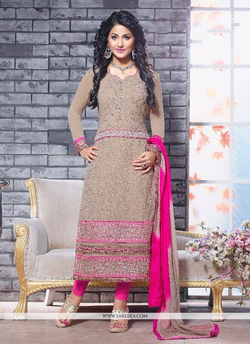 Hina Khan Beige Georgette Churidar Suit