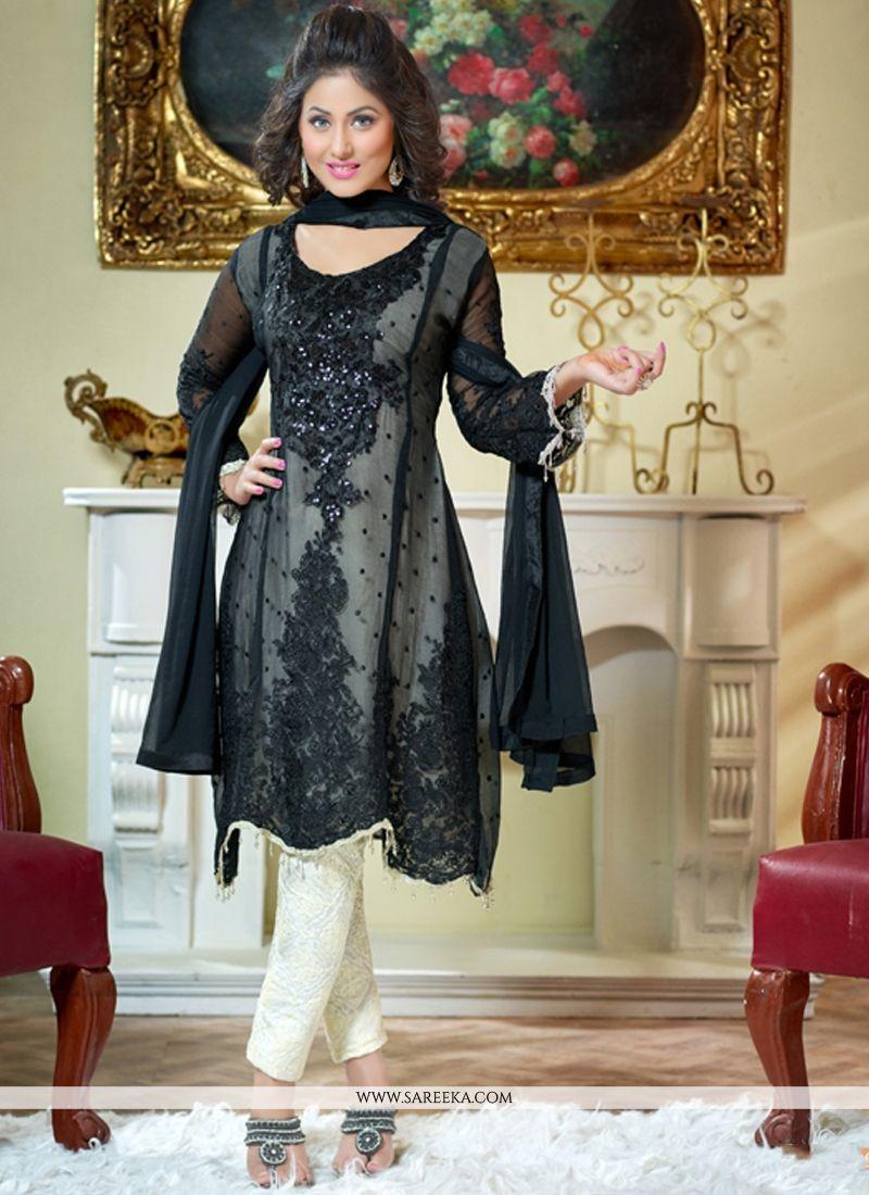 Hina Khan Black Georgette Salwar Suit