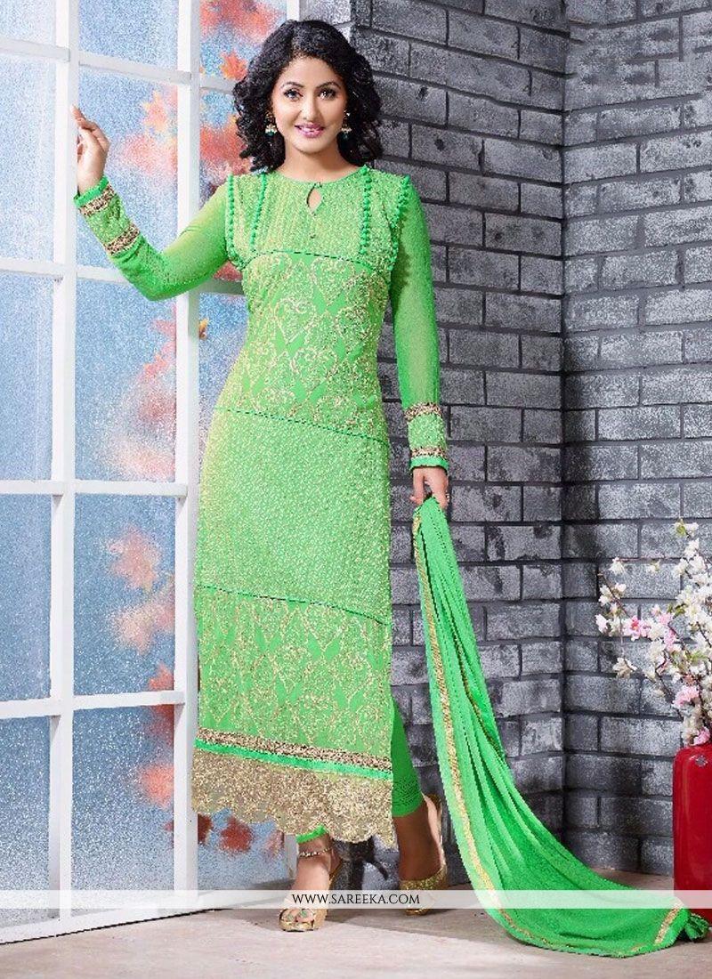 Hina Khan Green Georgette Churidar Salwar Suit