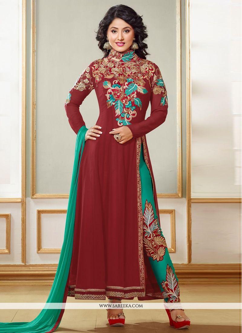 Hina Khan Maroon Georgette Anarkali Suit