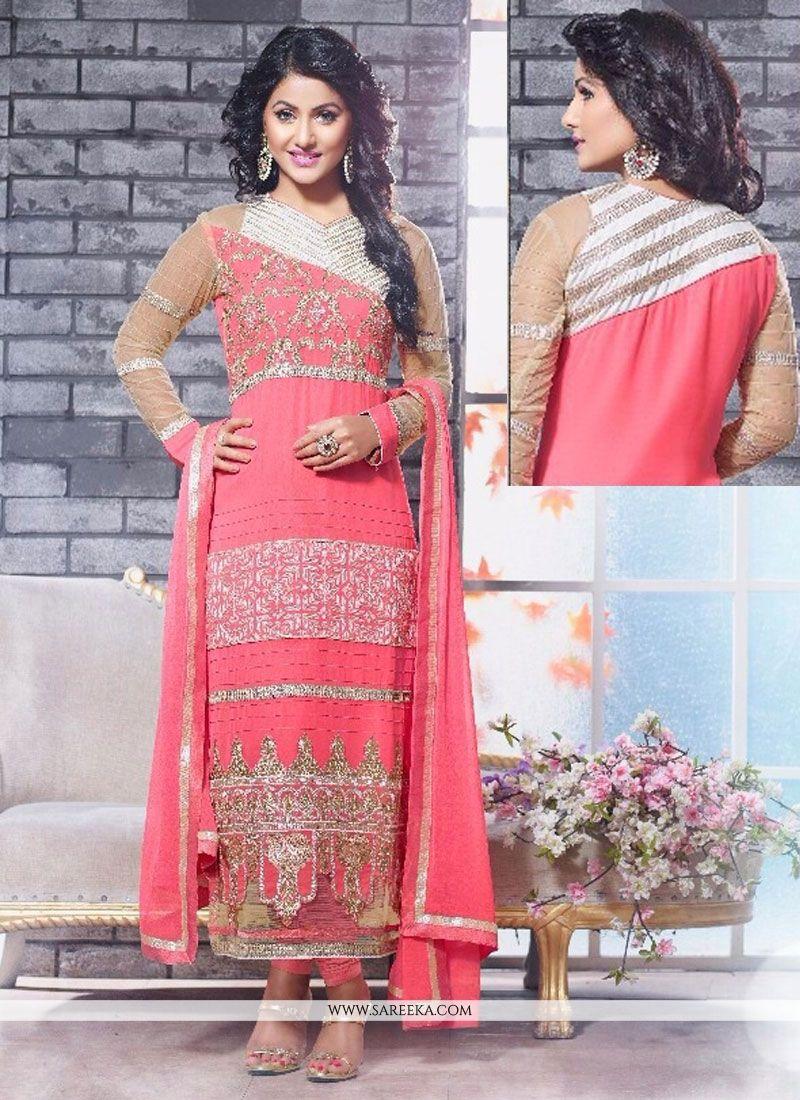 Hina Khan Pink Embroidery Work Churidar Suit