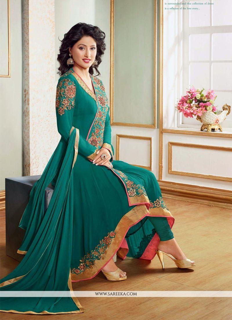 Hina Khan Sea Green Georgette Anarkali Suit