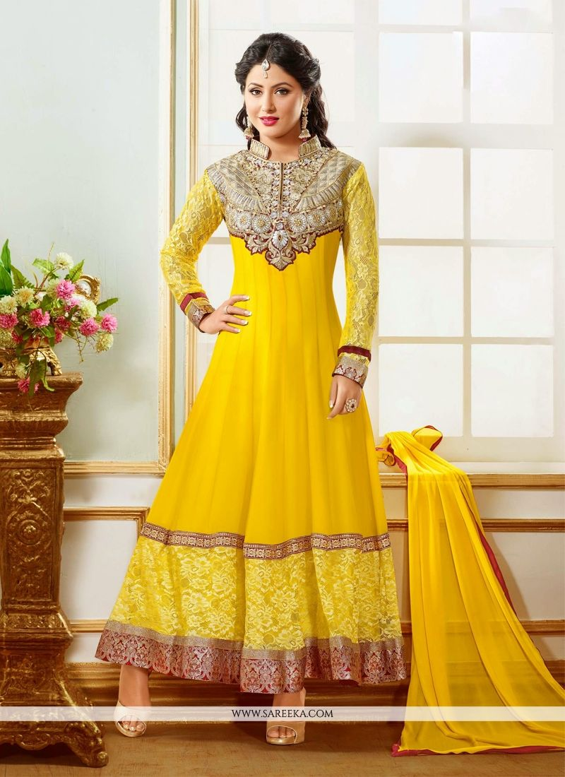 Hina Khan Yellow Georgette Anarkali Suit