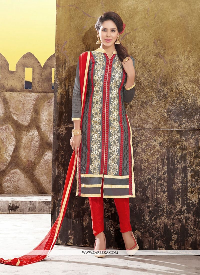 c313b1fcc6 Lace Work Chanderi Churidar Designer Suit -