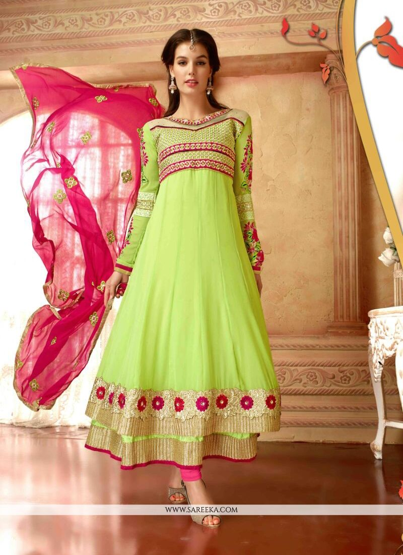 Lace Work Georgette Anarkali Suit