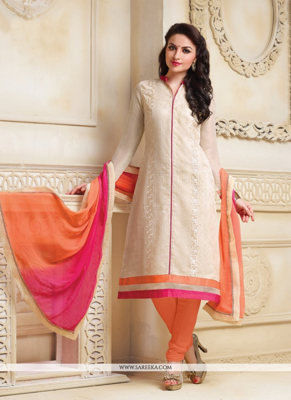 Net Lace Work Churidar Salwar Suit
