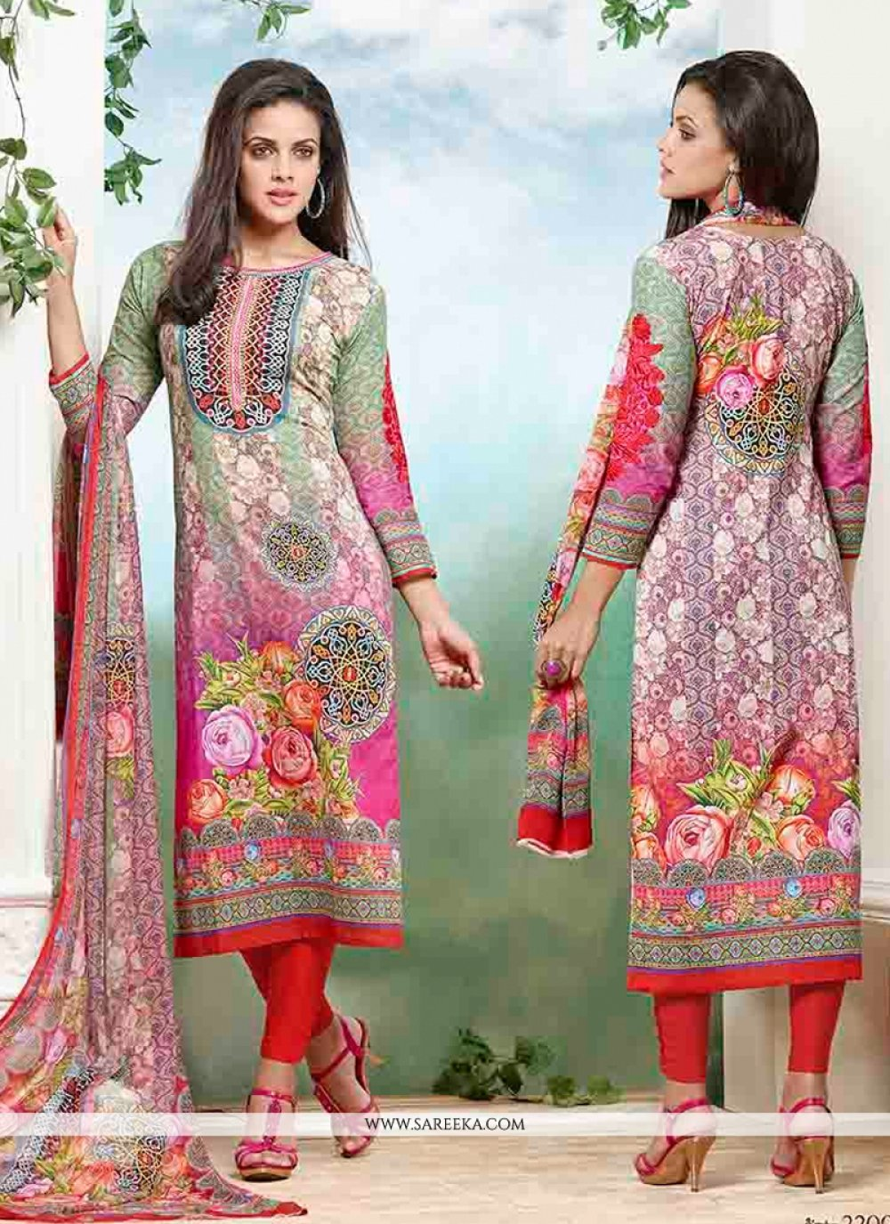 Print Work Cotton   Churidar Designer Suit