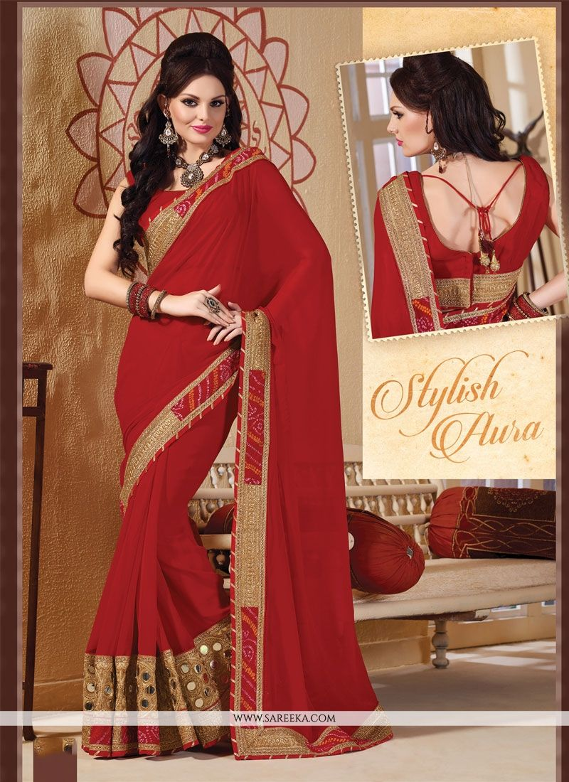 Red Viscose Designer Saree