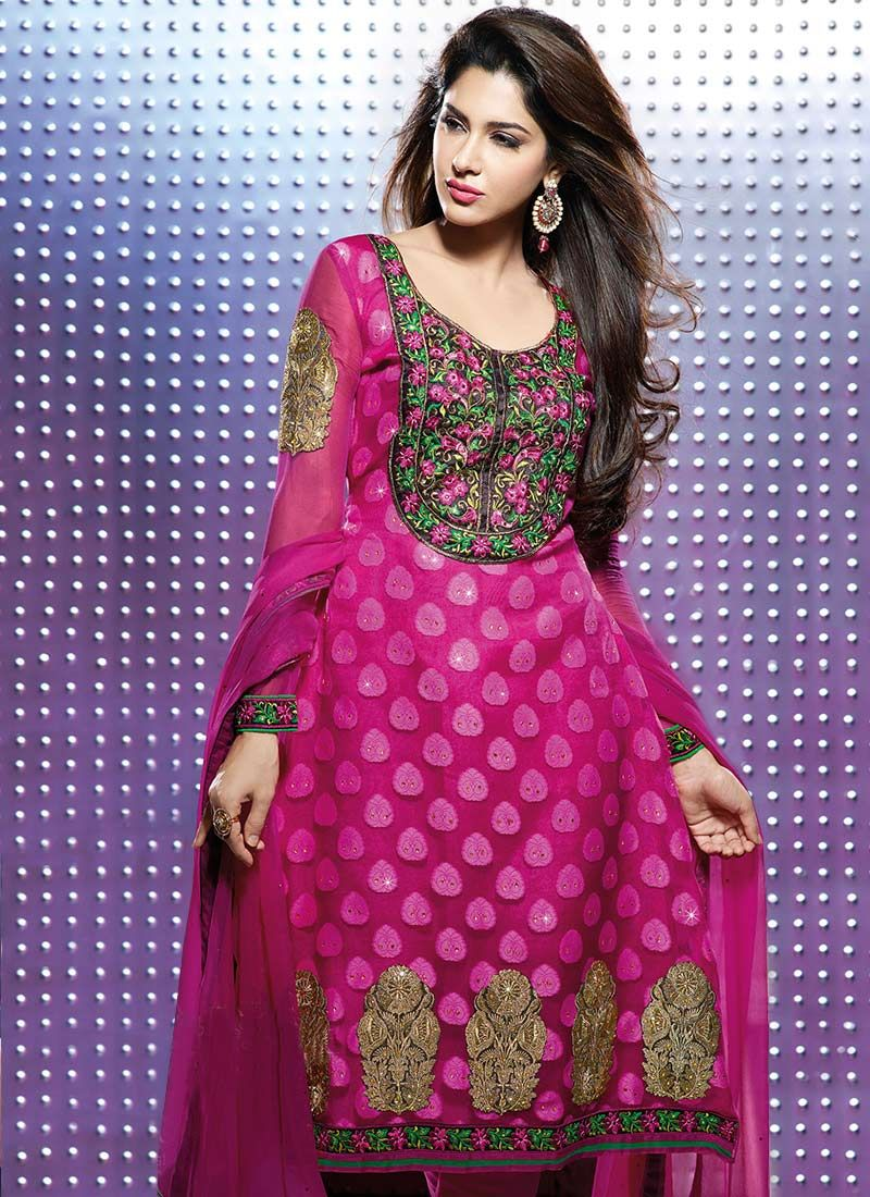 Hot Dark Pink Faux Chiffon Satin Churidar Suit