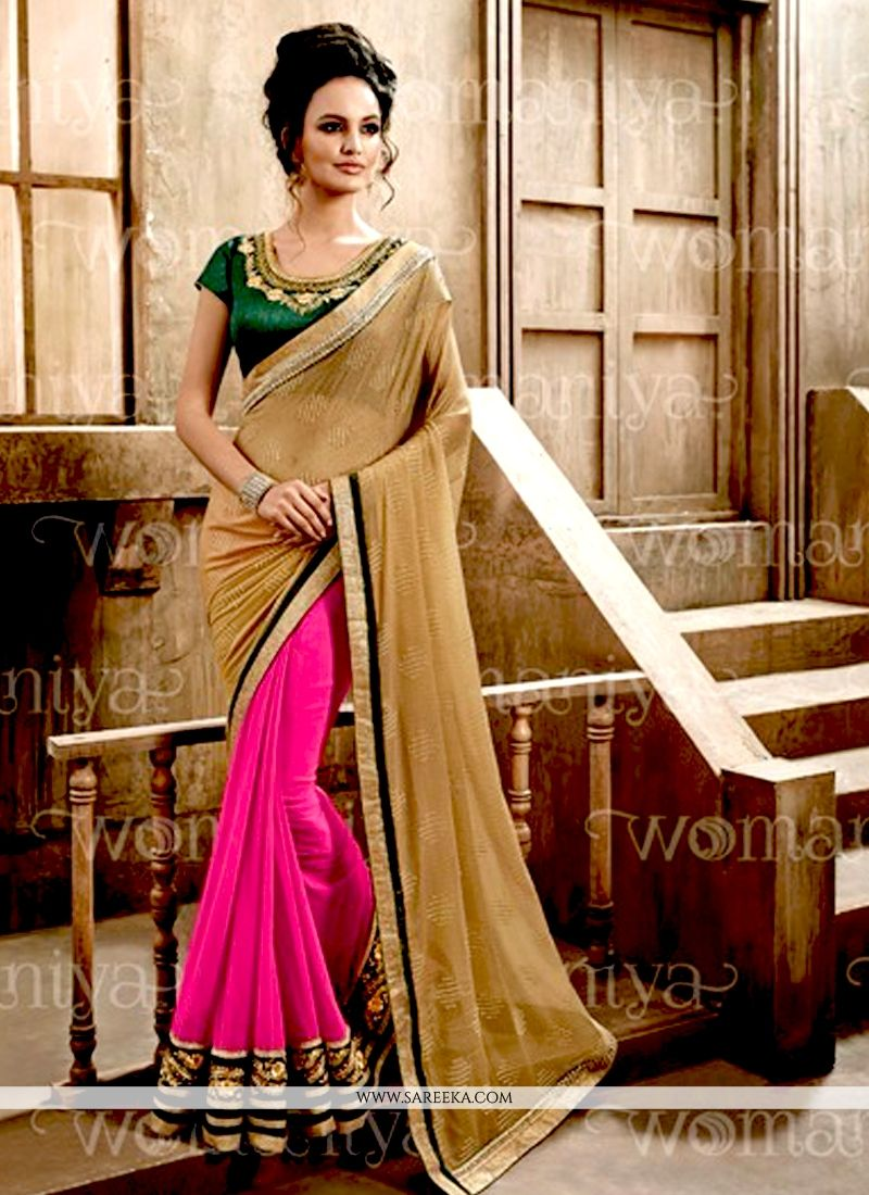 Hot Pink and Beige Lace Work Georgette Designer Saree
