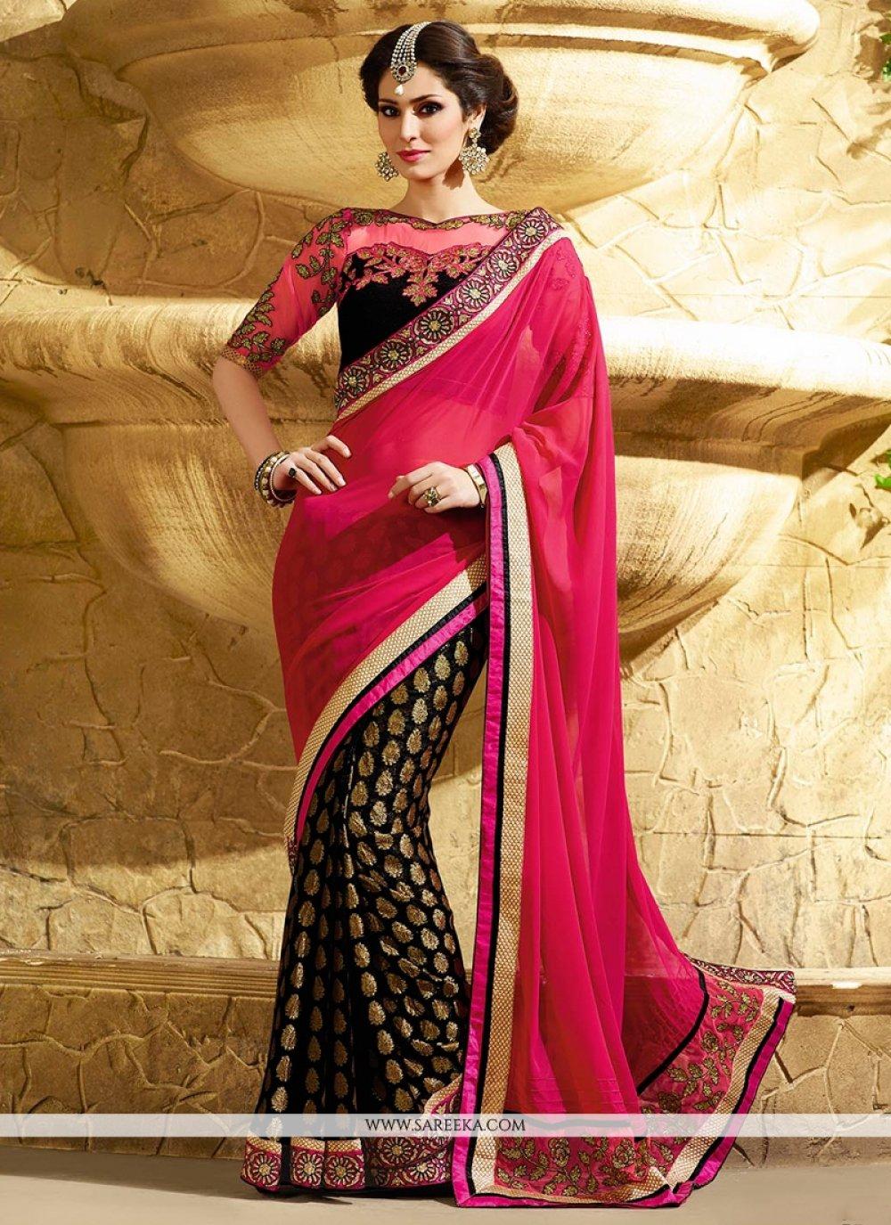 Hot Pink And Black Georgette Designer Saree