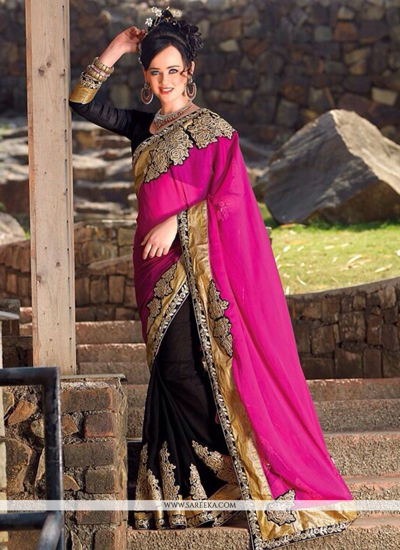 Hot Pink And Black Georgette Half And Half Saree