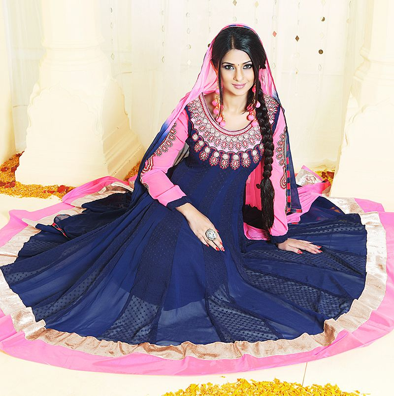 Hot Pink And Blue Embroidery Work Anarkali Salwar Suit