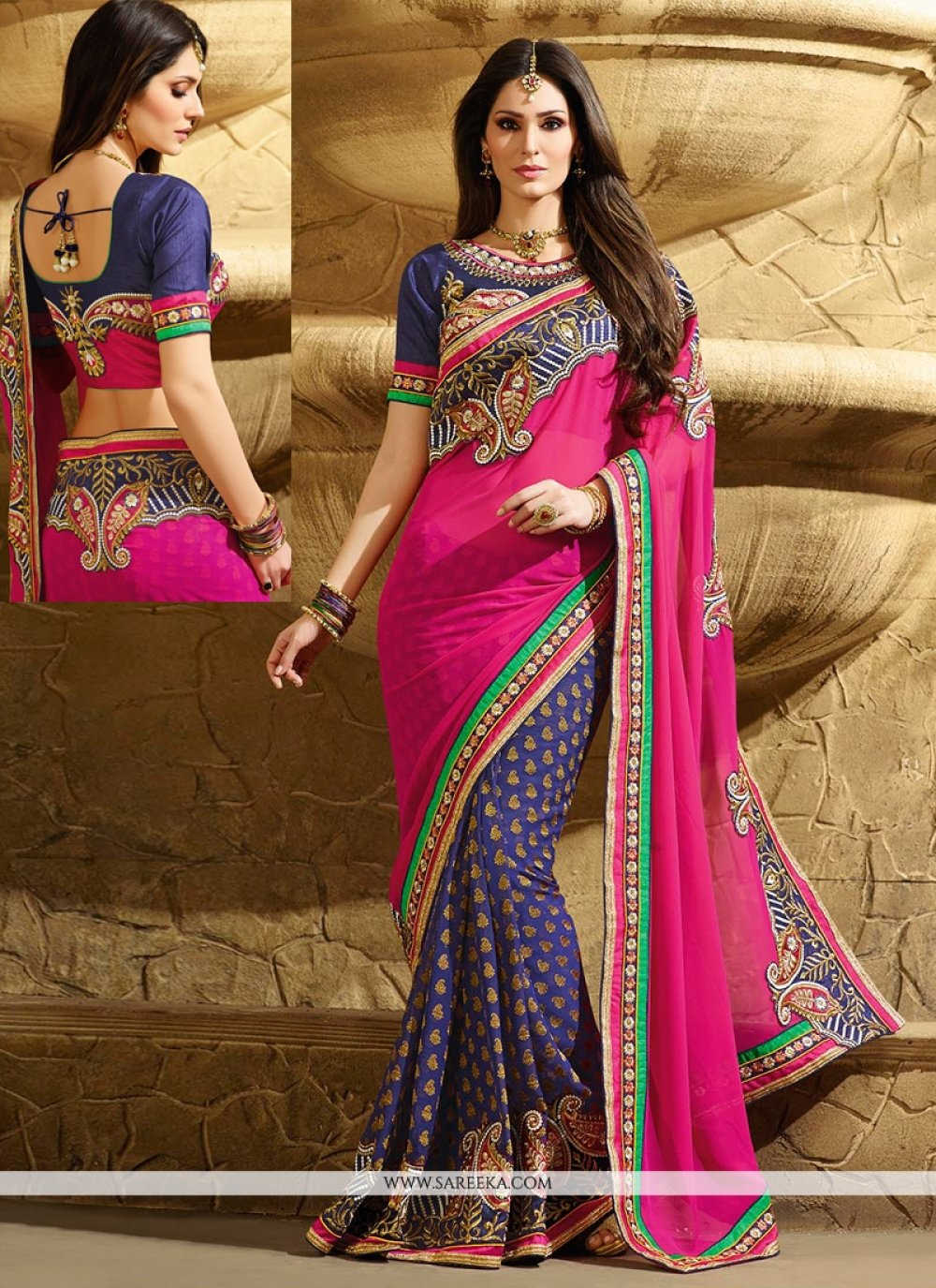 Hot Pink And Blue Georgette Designer Saree