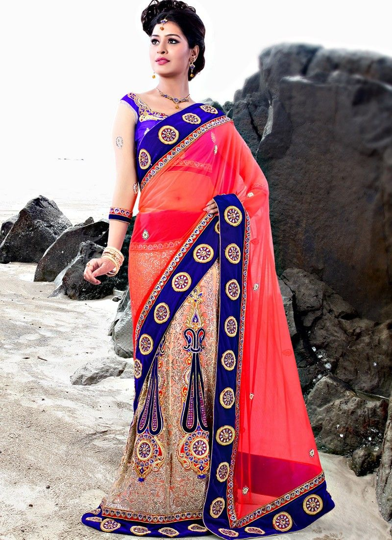 Hot Pink And Blue Georgette Lehengha Style Saree