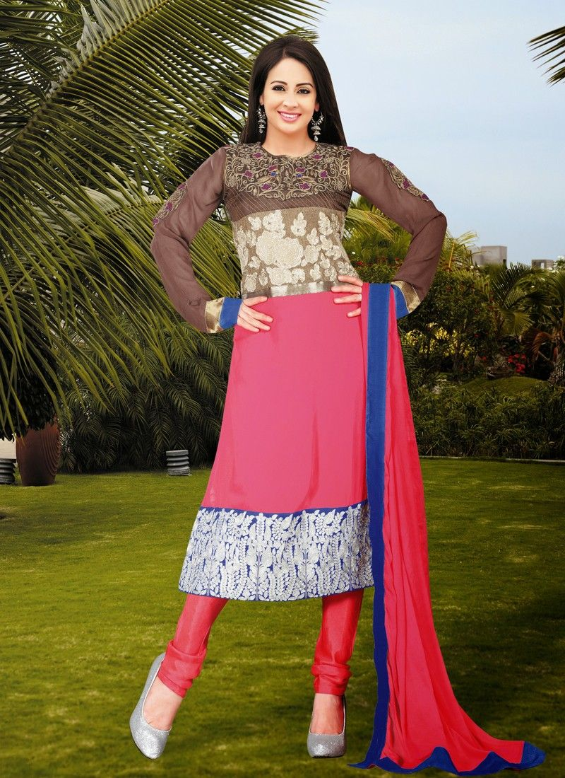 Hot Pink And Brown Stone Work Churidar Suit