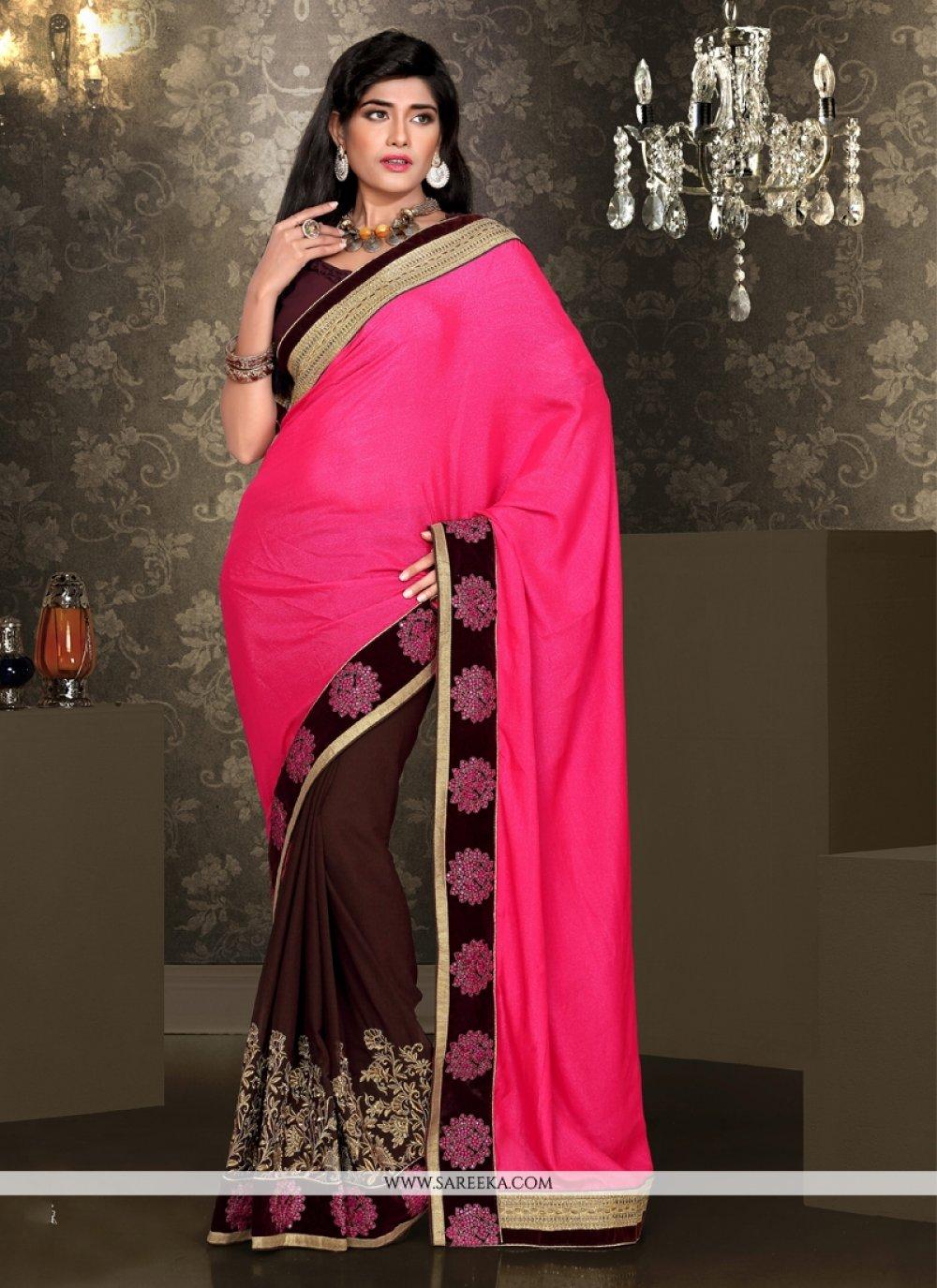 Hot Pink And Brown Viscose Designer Saree