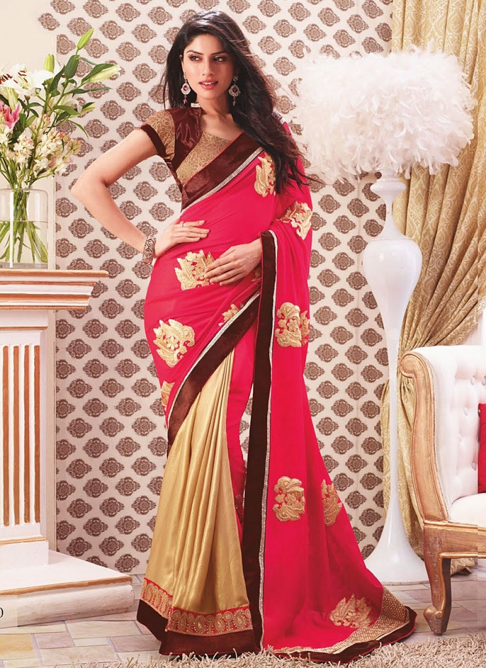 Hot Pink And Cream Georgette Saree