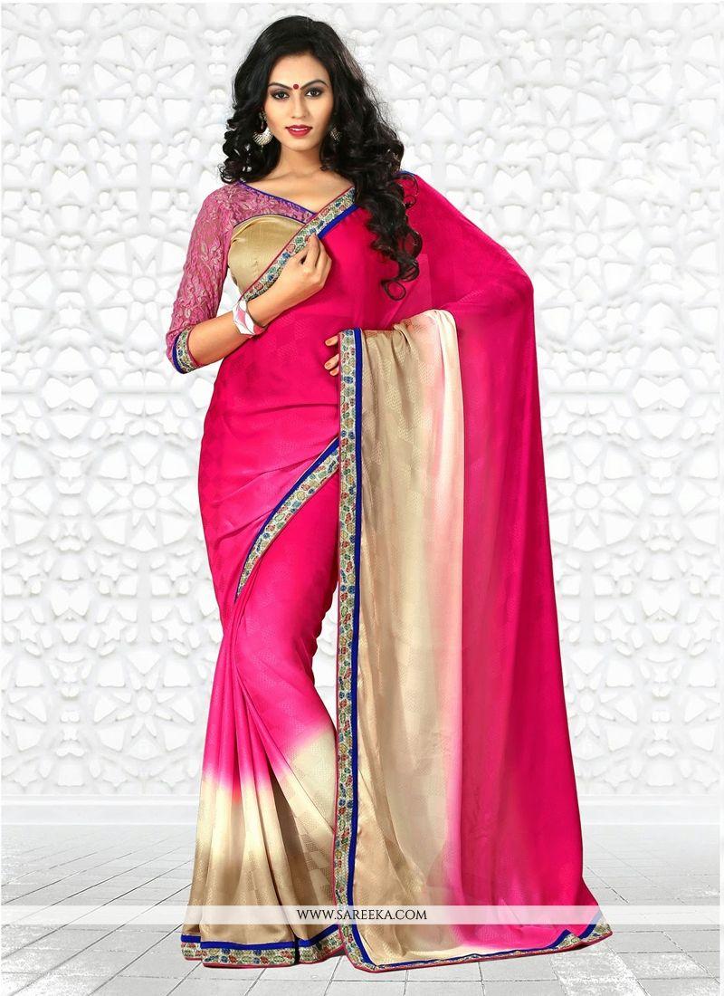 Hot Pink And Cream Shaded Casual Saree