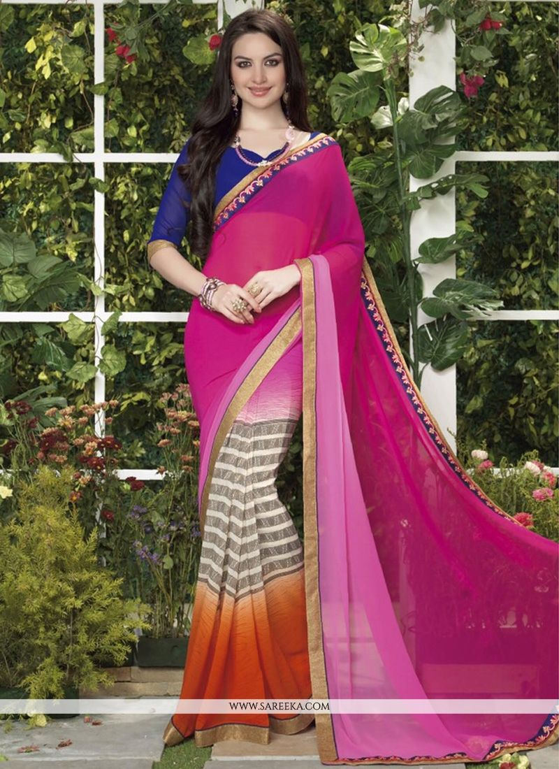 Hot Pink And Cream Shaded Less Georgette Saree