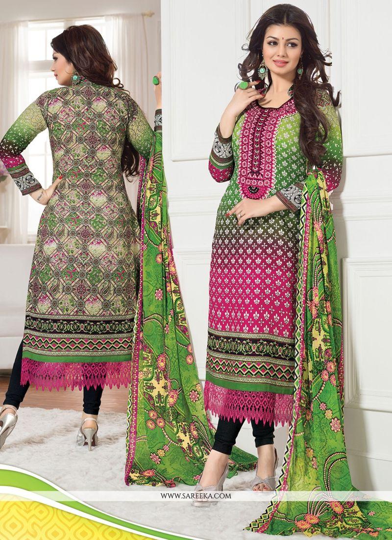 Hot Pink And Green Cotton Churidar Salwar Suit