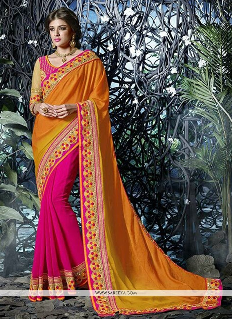 Hot Pink And Orange Georgette Saree