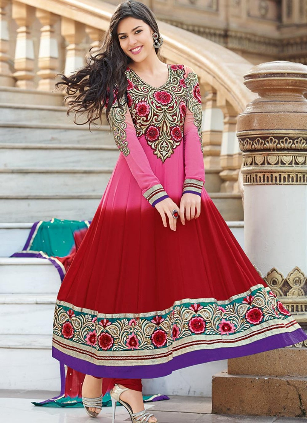 Hot Pink And Red Border Work Anarkali Suit