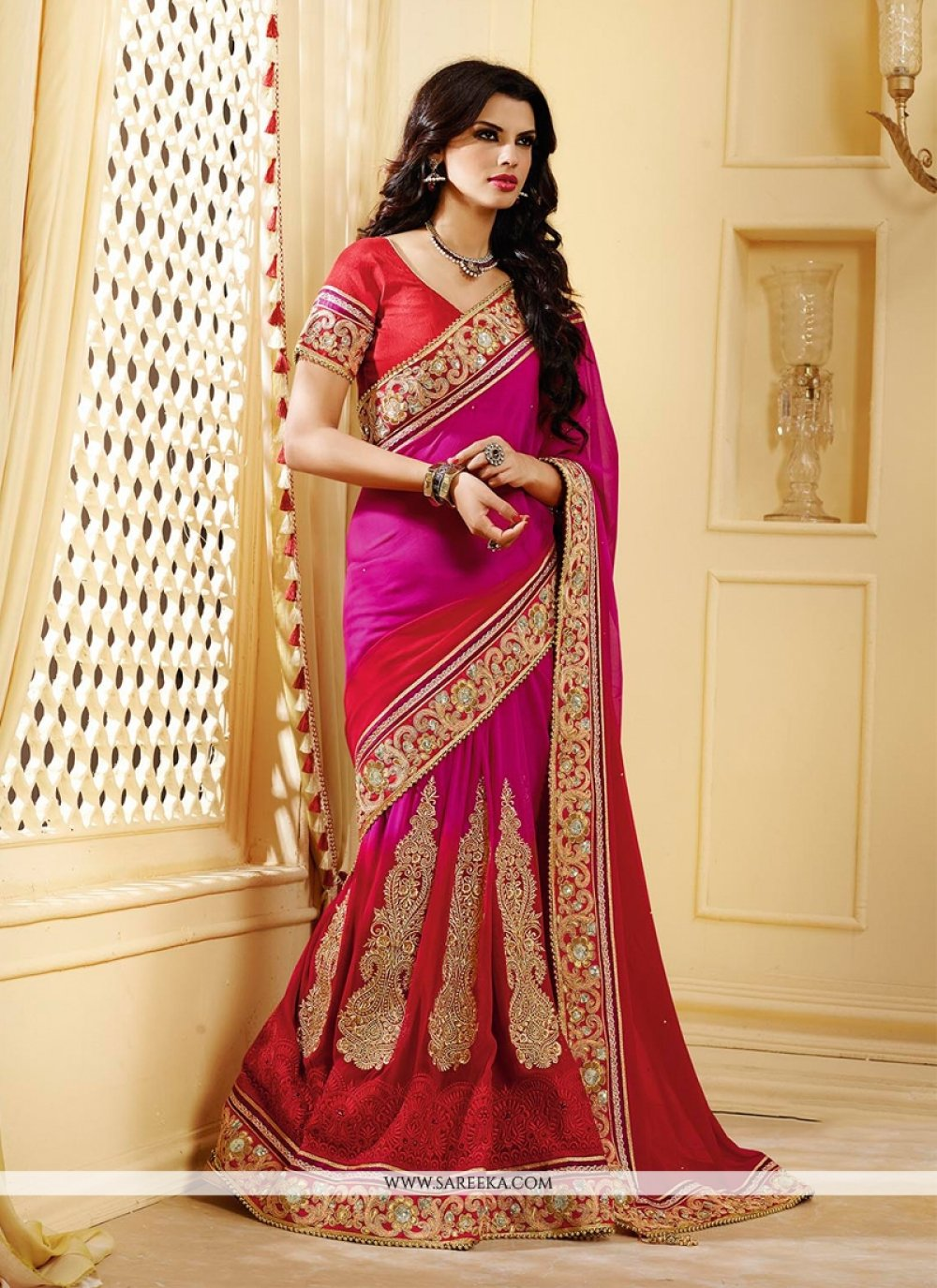 Hot Pink And Red Shaded Georgette Lehenga Saree
