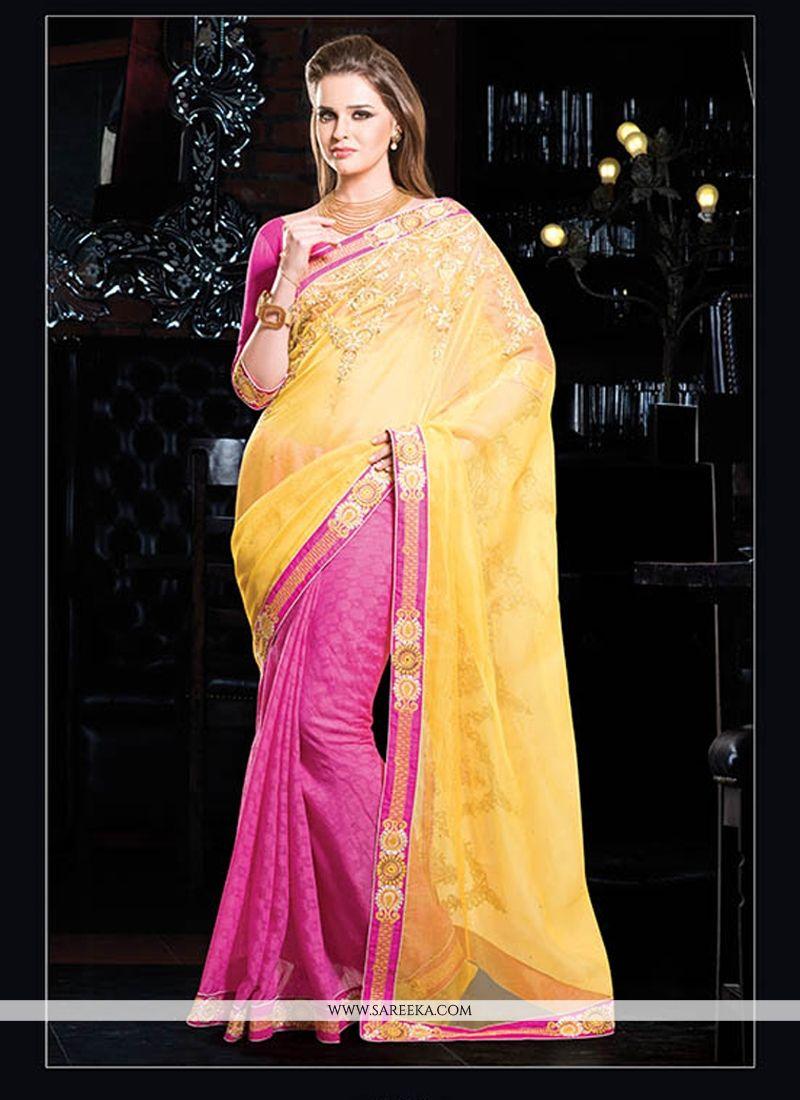 Hot Pink And Yellow Cotton Designer Saree