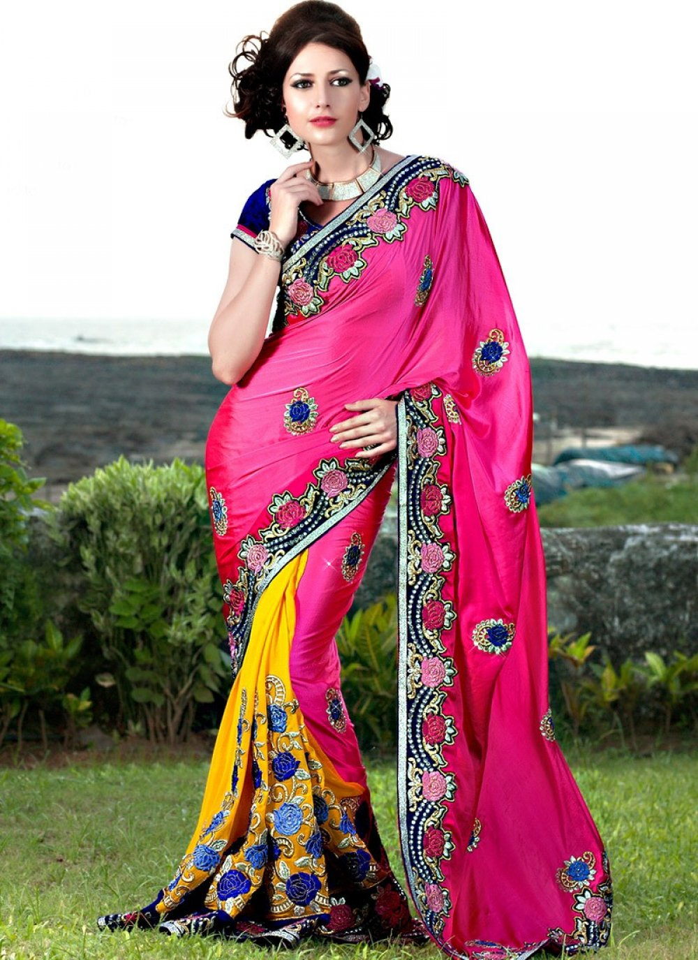 Hot Pink And Yellow Georgette Saree