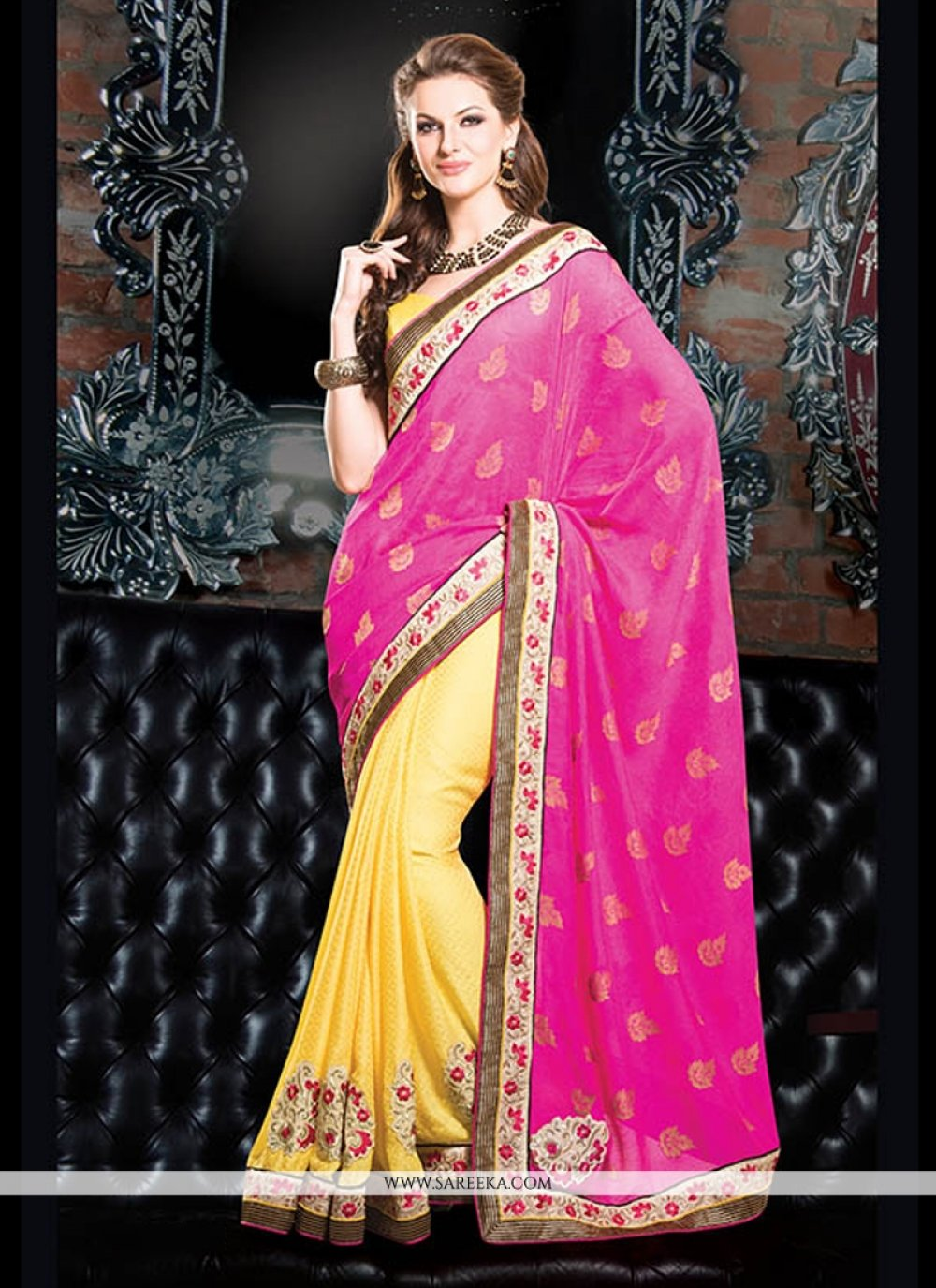Hot Pink And Yellow Viscose Designer Saree
