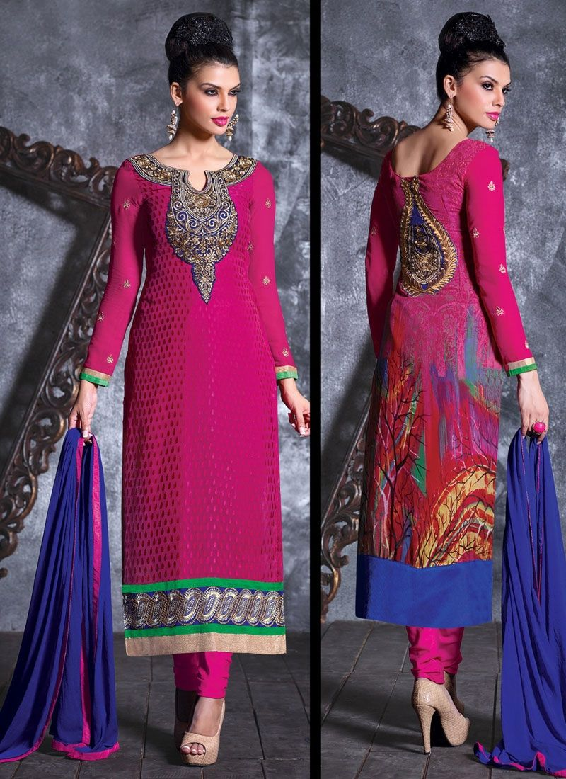 Magenta Brasso Georgette Churidar Suit