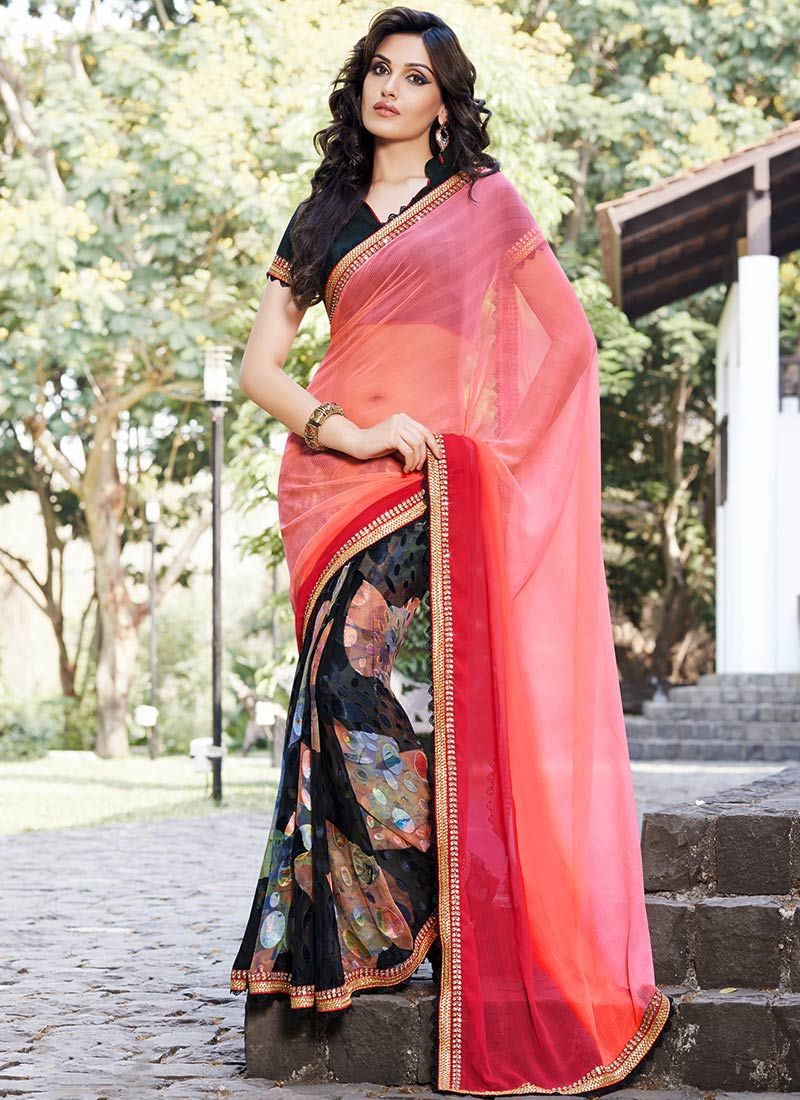 Hot Pink Brasso Georgette Printed Saree