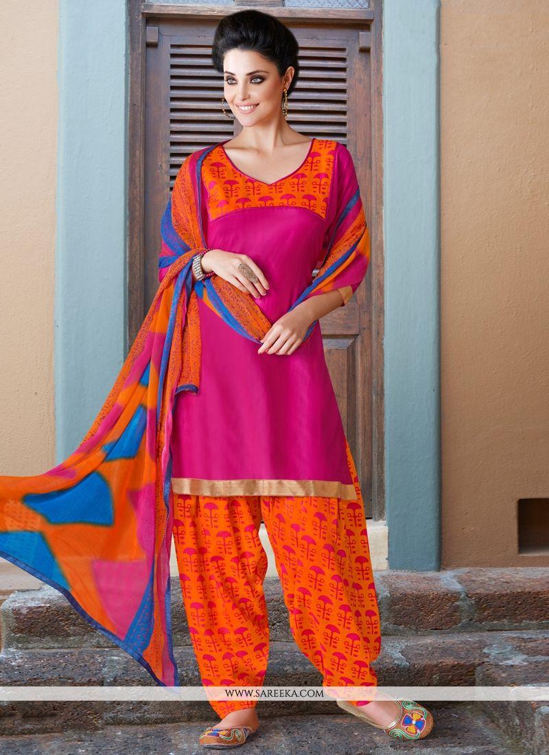 Hot Pink Cotton Satin Punjabi Suit