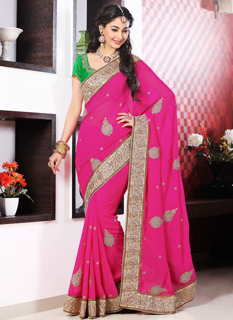 Hot Pink Embroidery Border Work Georgette Designer Saree