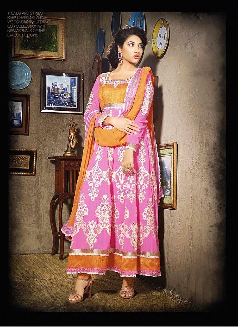 Hot Pink Embroidery Chiffon Anarkali Suit