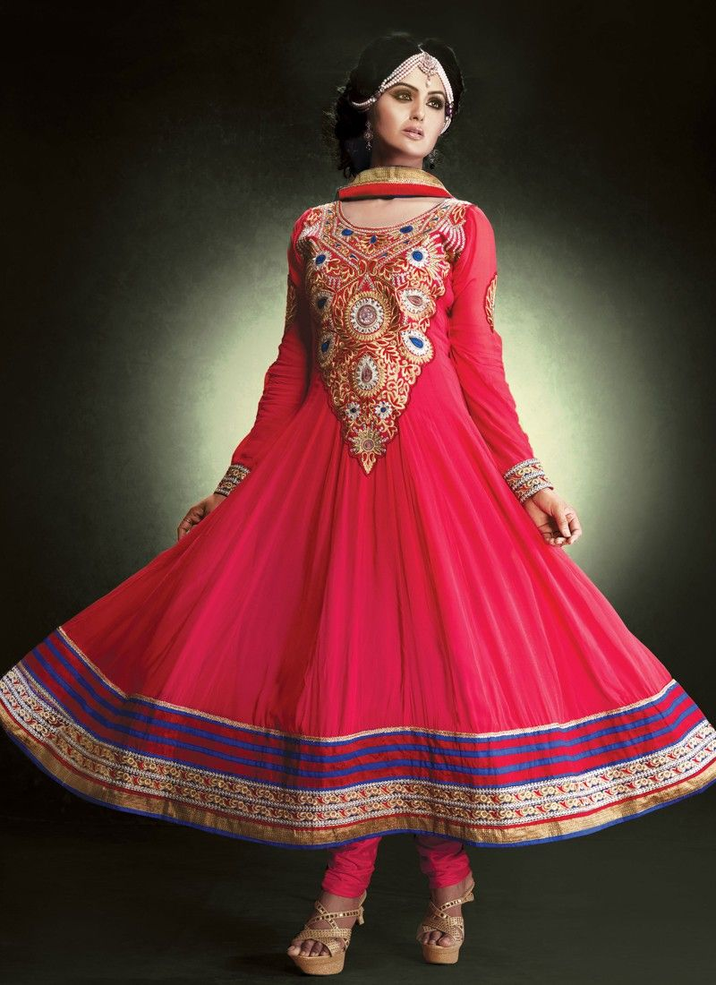 Hot Pink Embroidery Patch Border Work Anarkali Salwar Suit